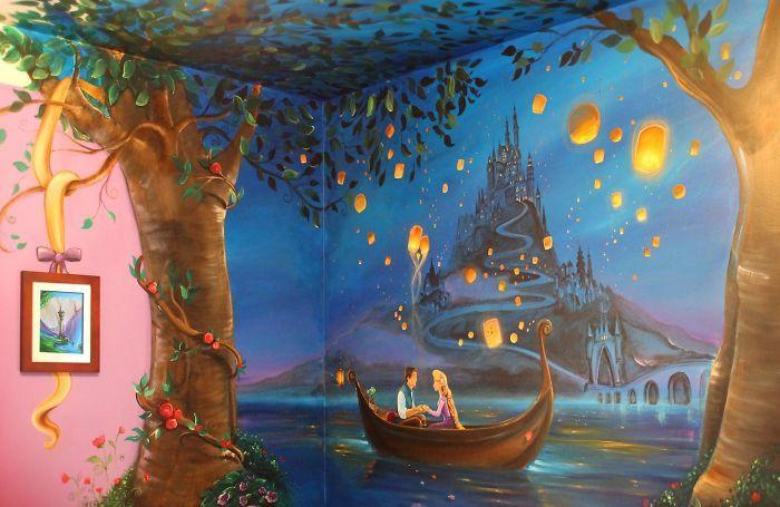 fresque murale peinte main chambre enfant